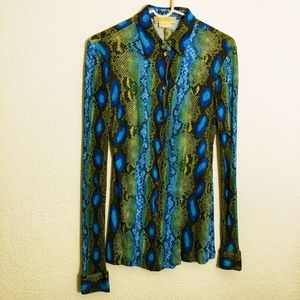 Size 8 Michael Kors snakeskin print LS blouse